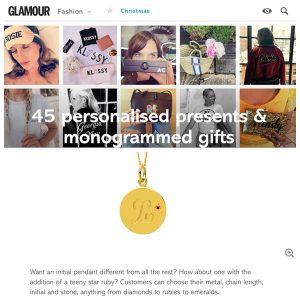Glamour Gift Guide features Ruby Initial Necklace