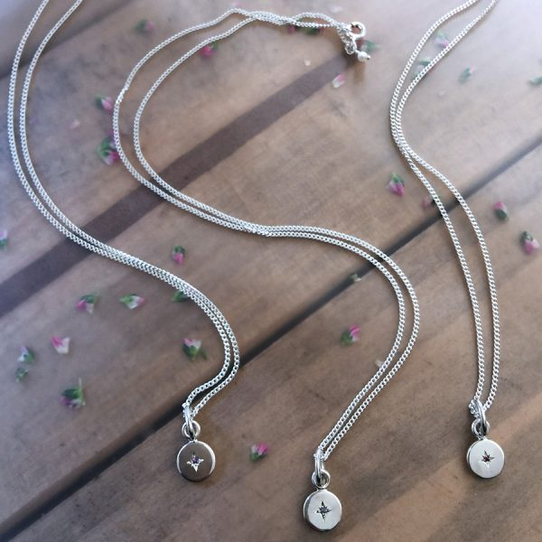 Single Sterling Silver Amethyst, Sapphire and Garnet Necklaces