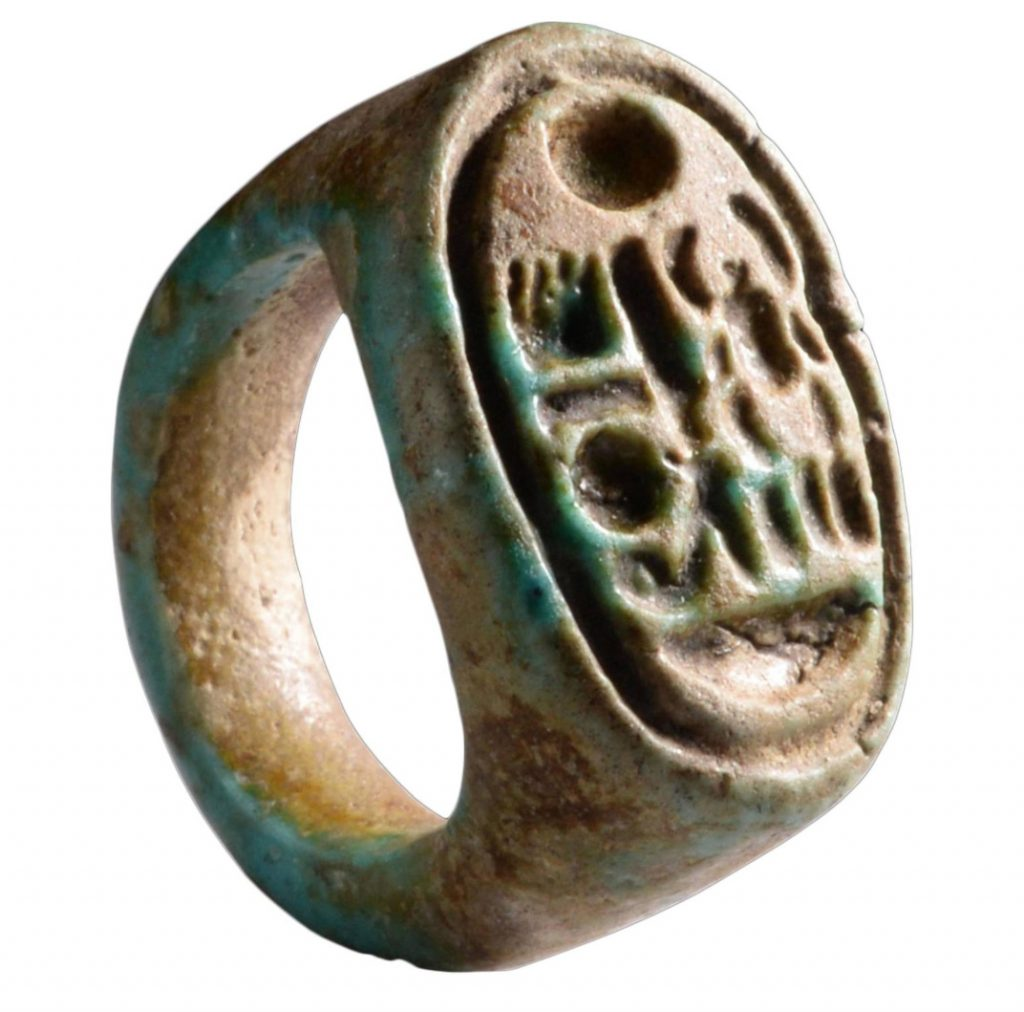 1332 BC Ancient Egyptian New Kingdom Faience Ring for Tutankhamun