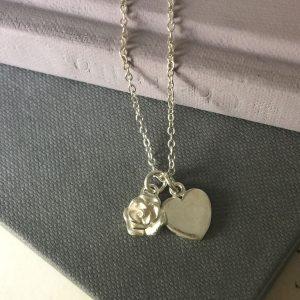 Rose and Love Heart Bracelet