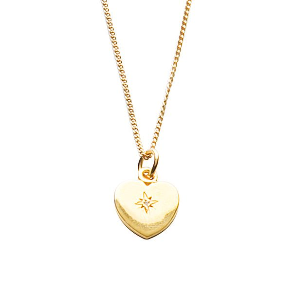 Diamond Loveheart Necklace in Gold Vermeil