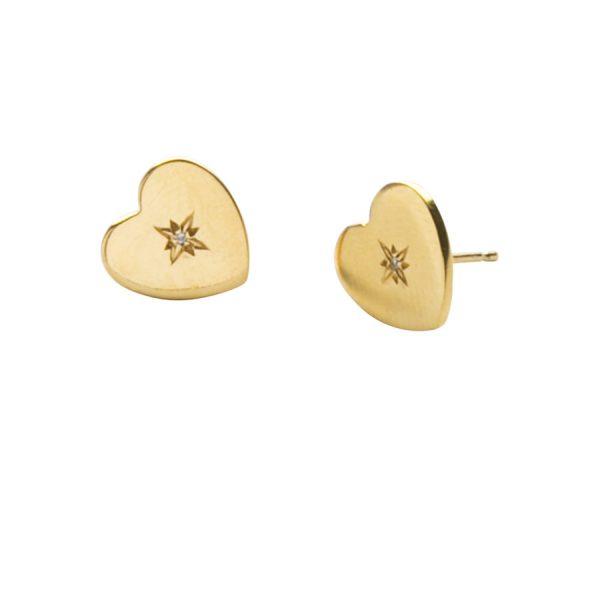 Diamond Love Heart Studs in Gold Vermeil
