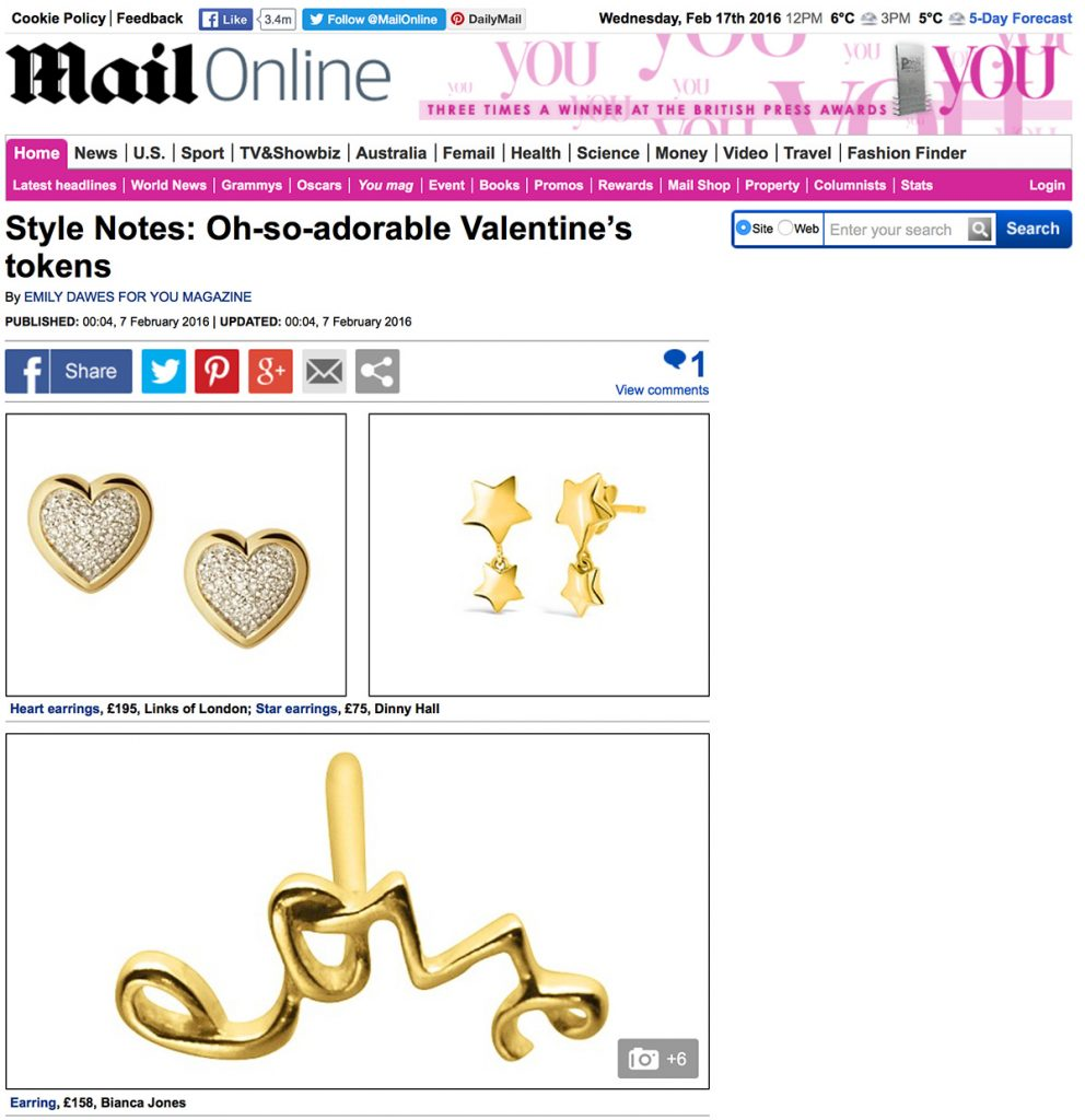 Daily Mail Online features love stud