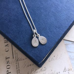 Letter Stamped Duet Necklace