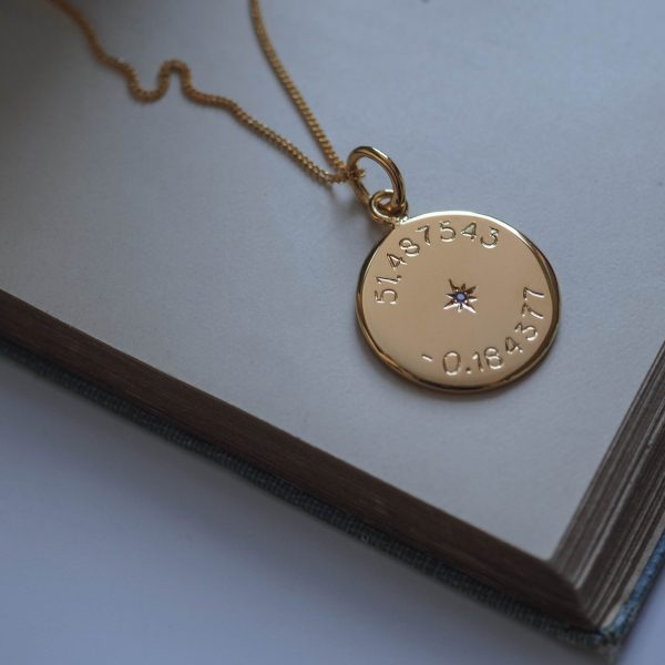 Birthstone Latitude and Longitude in Gold Vermeil