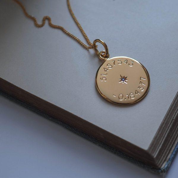 Birthstone Latitude and Longitude in Gold Vermeil