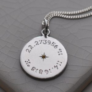 Birthstone Latitude & Longitude Necklace in Sterling Silver