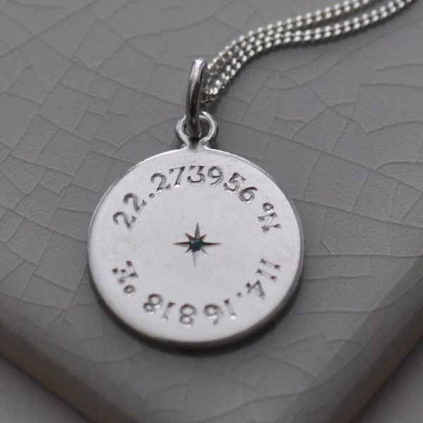 Birthstone Latitude & Longitude Necklace in Sterling Silver