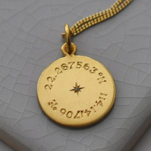 Birthstone Latitude & Longitude Necklace in Yellow Gold Vermeil