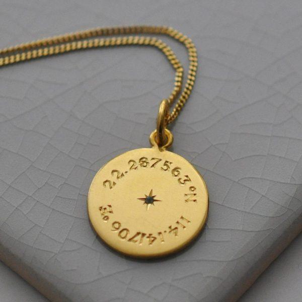 Birthstone Latitude & Longitude Necklace in Yellow Gold Vermeil