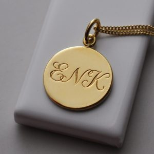 Triple Initial Necklace in Yellow Gold