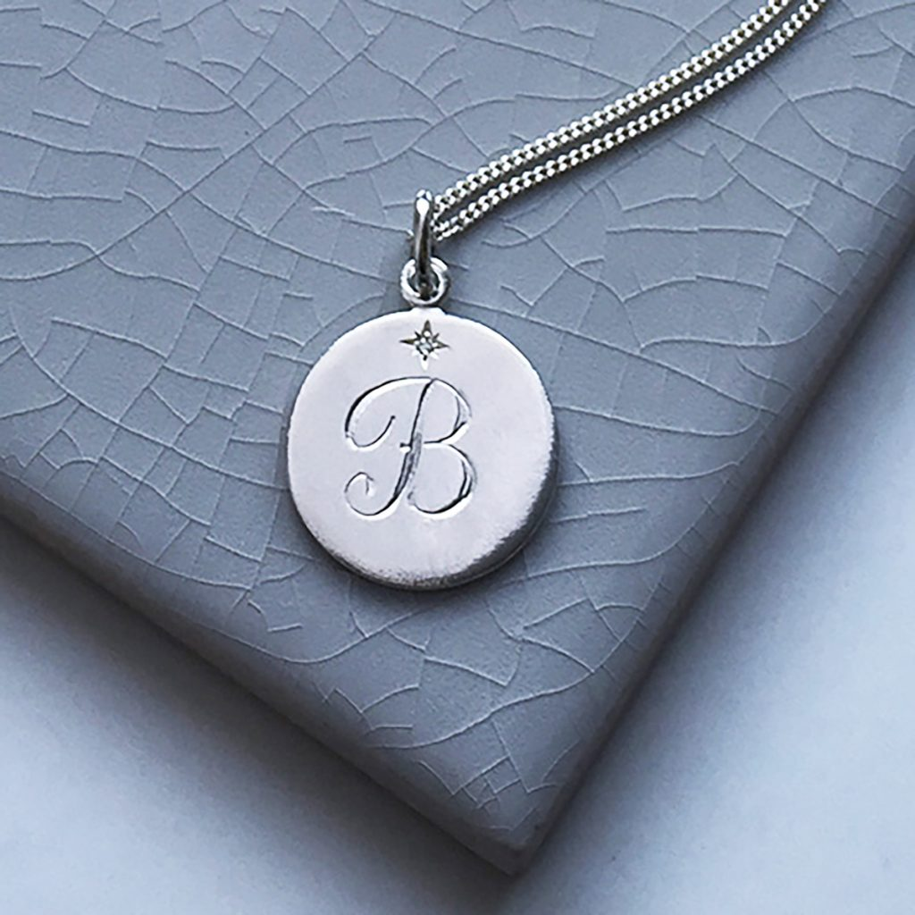 Diamond initial necklace in sterling silver bianca jones british diamond initial necklace in sterling silver aloadofball Choice Image