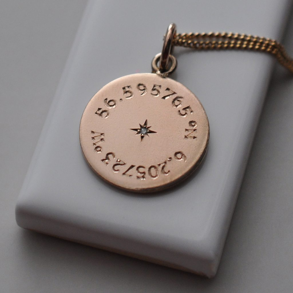 Diamond Latitude and Longitude Necklace in Rose Gold Vermeil