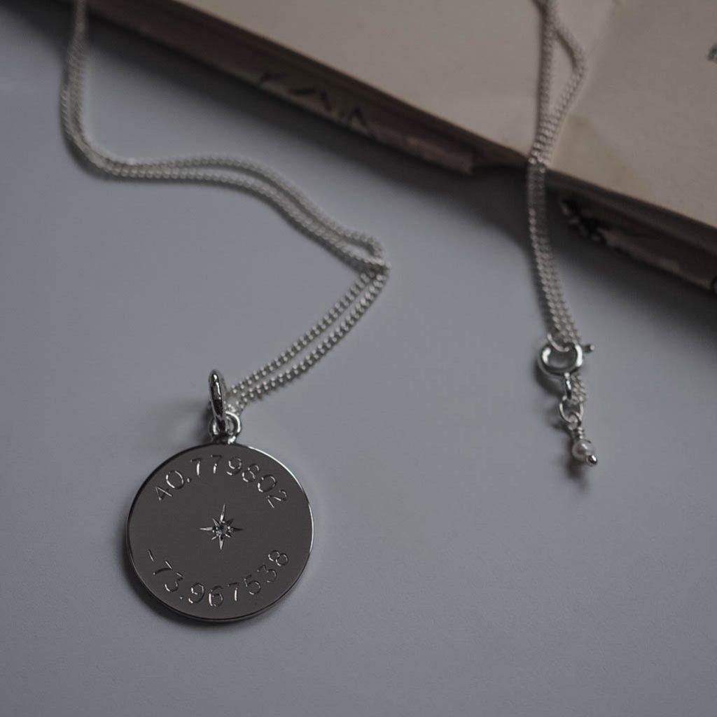 Diamond Latitude and Longitude Necklace