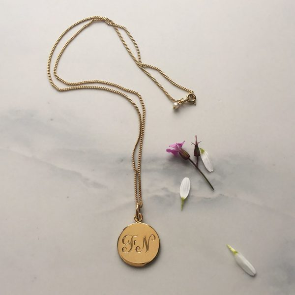 Double Initial Necklace in Yellow Gold Vermeil