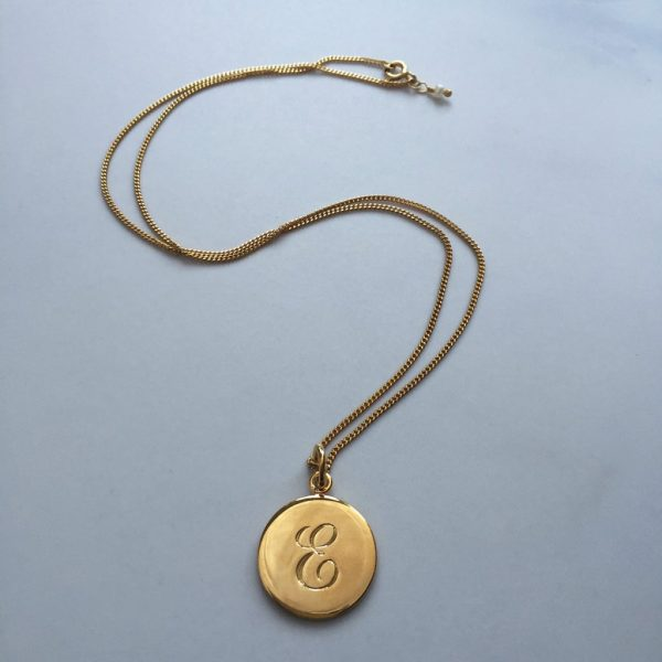 E initial in Yellow Gold