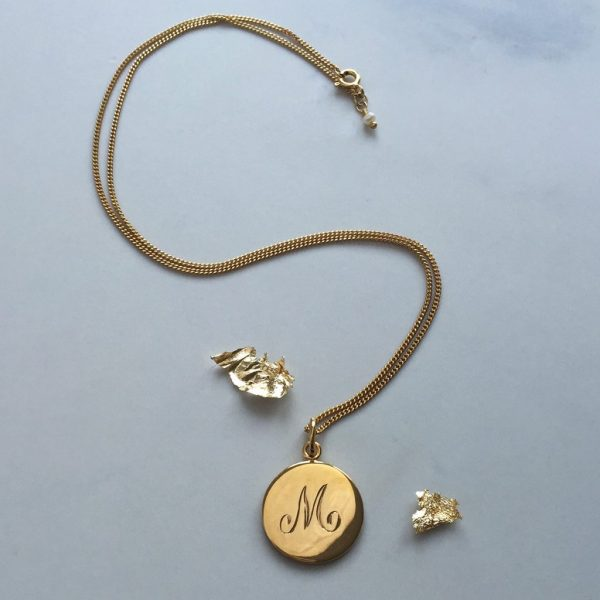 M initial in Yellow Gold