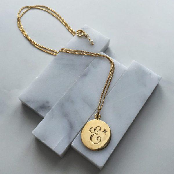 E Diamond Initial in Yellow Gold
