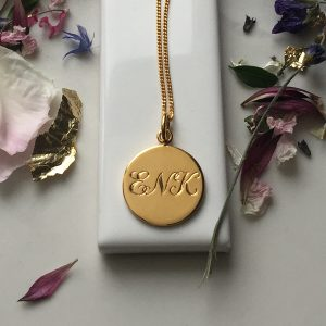 Triple Initial Necklace in Gold