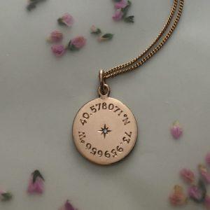 Latitude & Longitude Necklace in Rose Gold