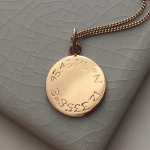 Latitude and Longitude Necklace in Rose Gold Vermeil