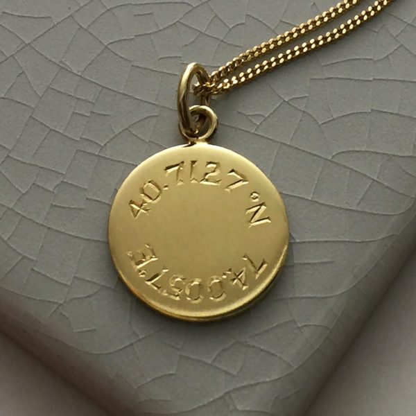 Latitude and Longitude Necklace in Yellow Gold Vermeil