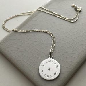 Diamond Latitude & Longitude Necklace in Sterling Silver