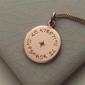 Birthstone Latitude & Longitude Necklace in Rose Gold Vermeil