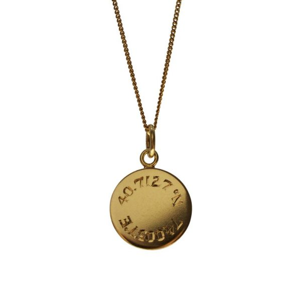 Latitude and Longitude necklace in Yellow Gold
