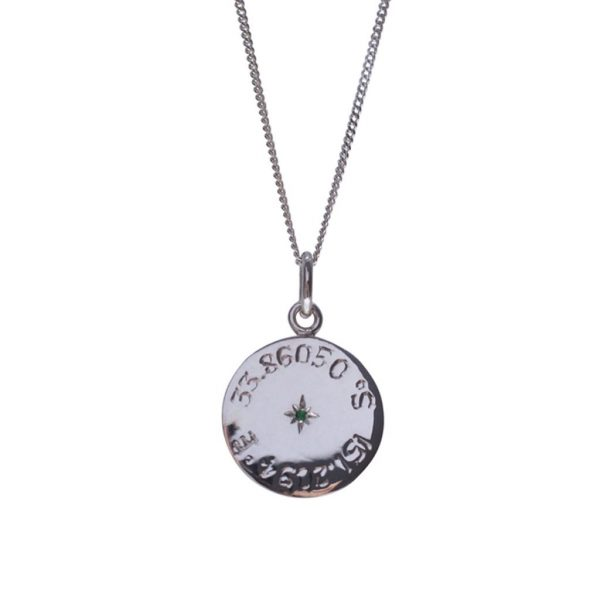 Longitude and Latitude necklace in Silver