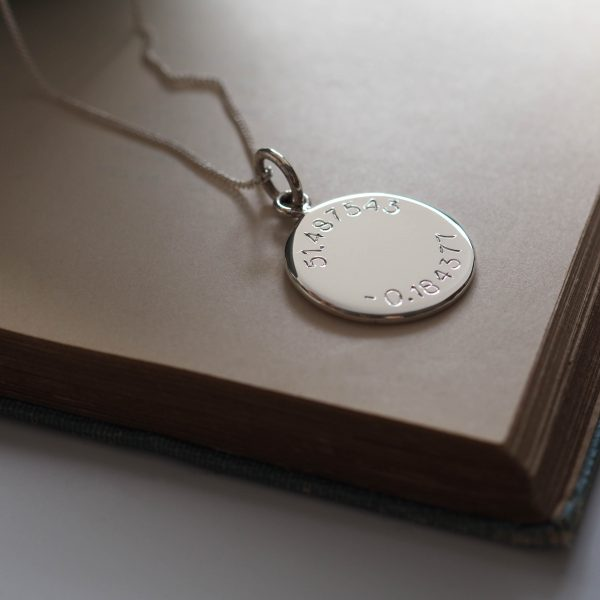 Latitude and Longitude Necklace in Sterling Silver from Bianca Jones Jewellery