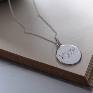 Triple Initial Necklace in Sterling Silver from Bianca Jones Jewellery