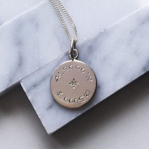 Diamond Latitude and Longitude Necklace in Sterling Silver