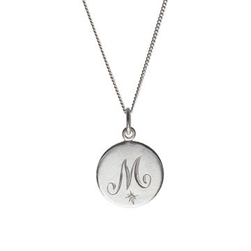 M Diamond Initial Necklace