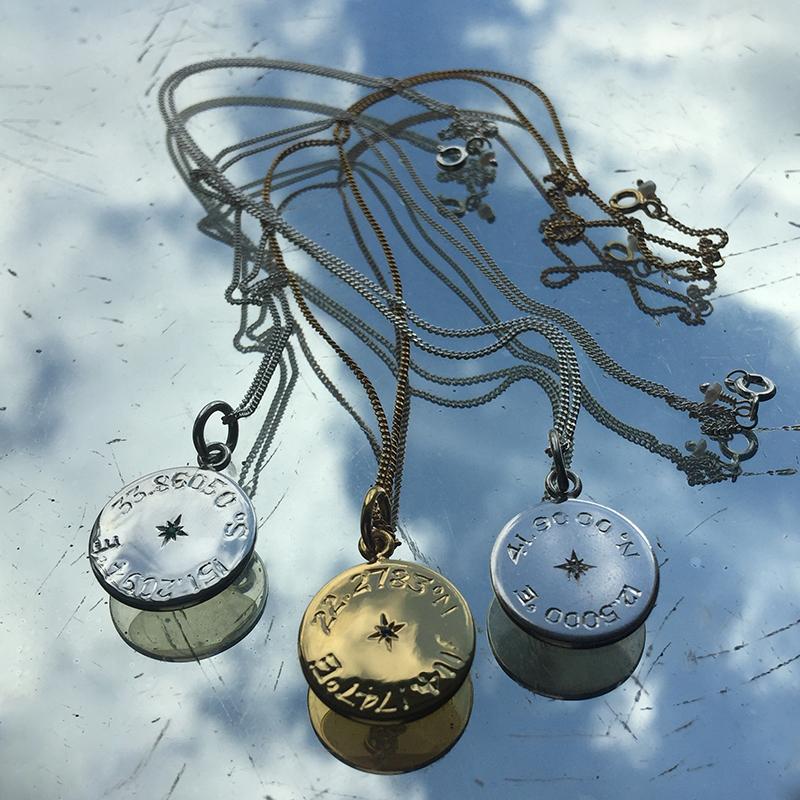 Birthstone Latitude and Longitude Necklace