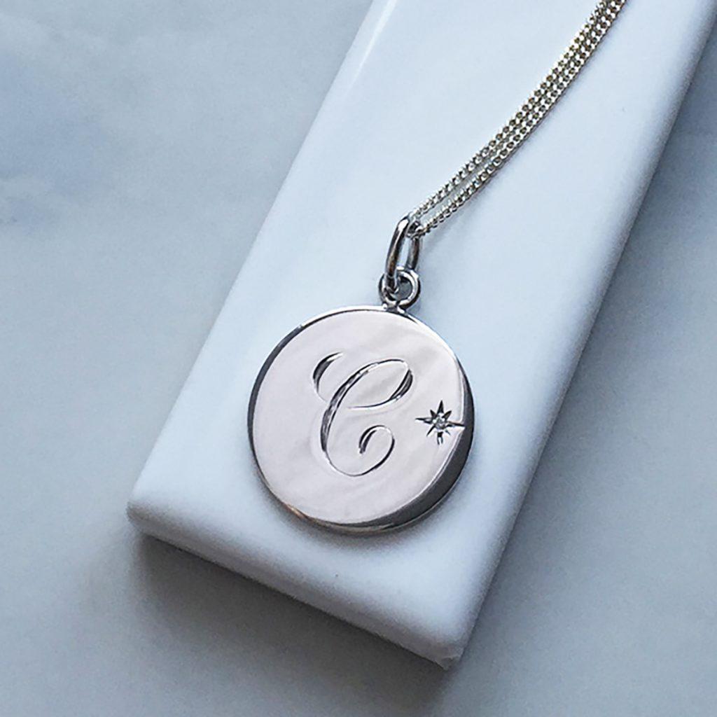 Diamond Initial Necklace In Sterling Silver Bianca Jones