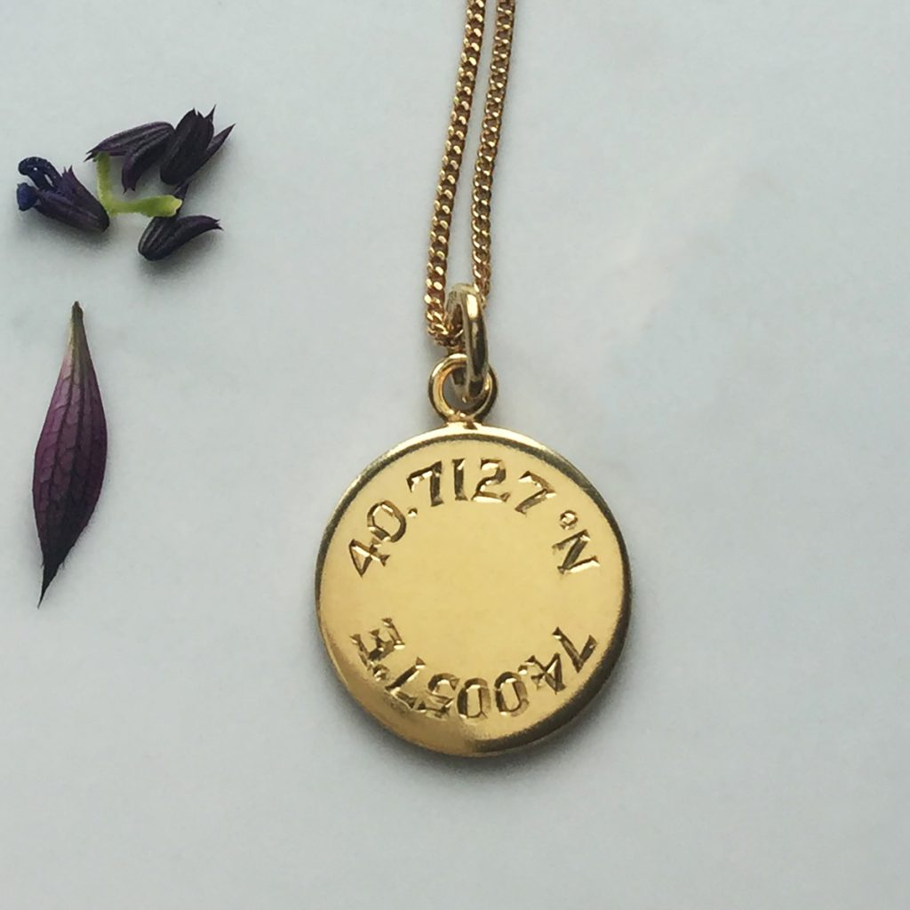 Latitude and Longitude Necklace in Gold Vermeil by Bianca Jones Jewellery