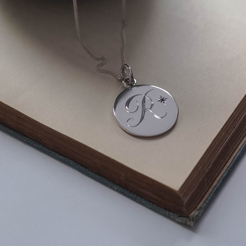 Amethyst Initial Necklace in Sterling Silver by Bianca Jones Jewellery