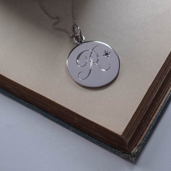 Amethyst Initial Necklace in Sterling Silver by Bianca Jones Jewellery