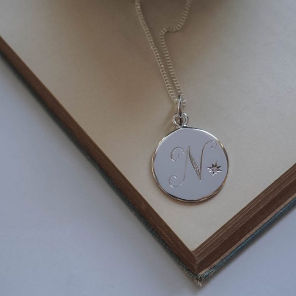 April Diamond Initial Necklace by Bianca Jones in Sterling Silver