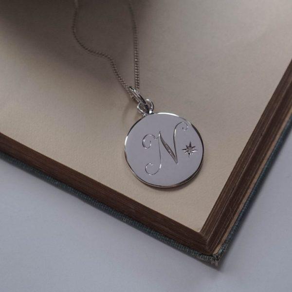 April Diamond Initial Necklace