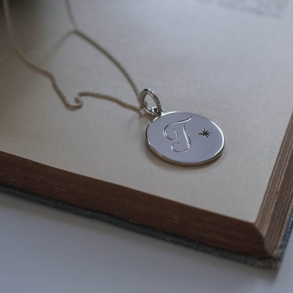 Aquamarine March Initial Necklace in Sterling Silver by Bianca Jones Jewellery