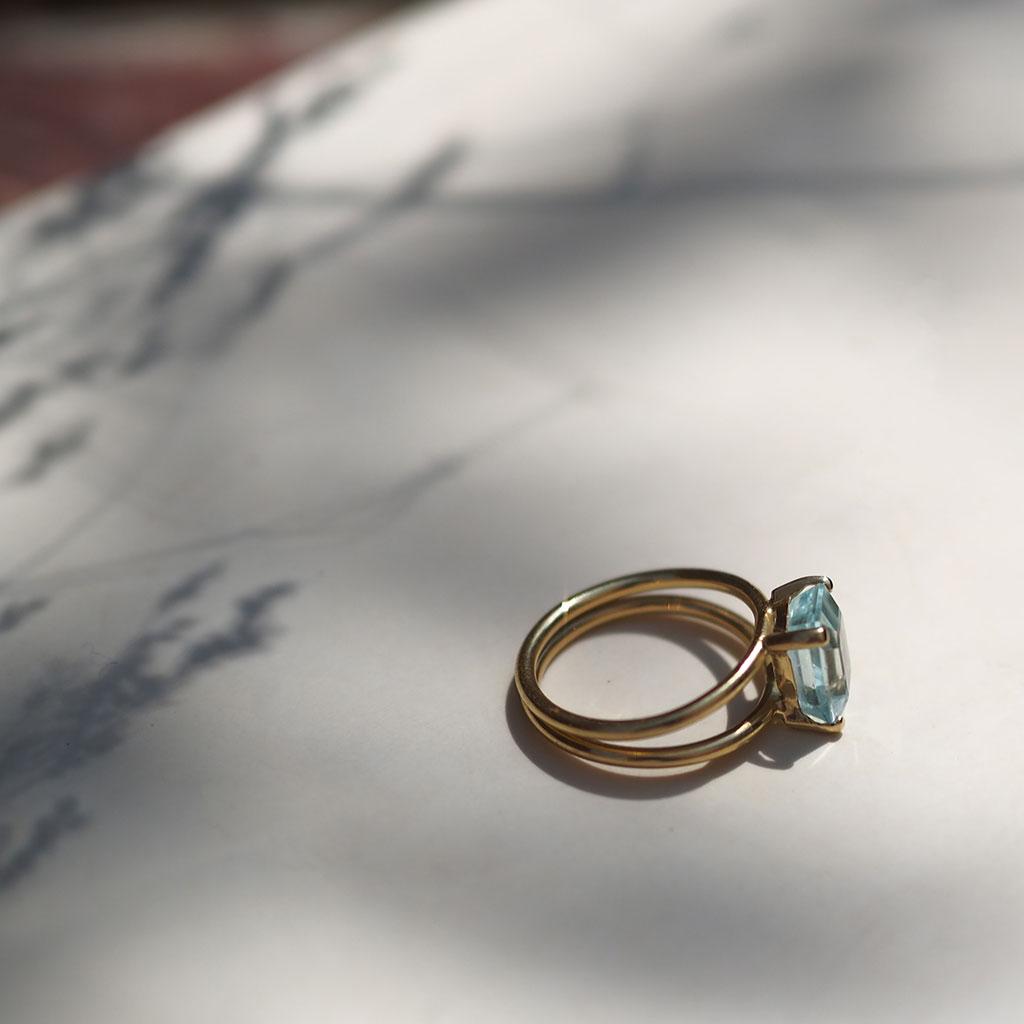 Aquamarine Ring, Yellow Gold
