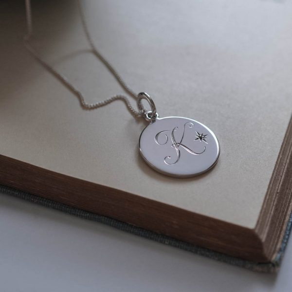 Garnet Initial January Necklace in Sterling Silver by Bianca Jones Jewellery
