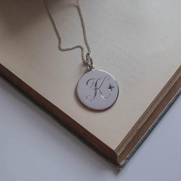 Garnet Initial January Necklace in Sterling Silver by Bianca Jones Jewellery