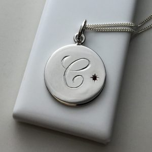 Garnet Initial Necklace in Sterling Silver