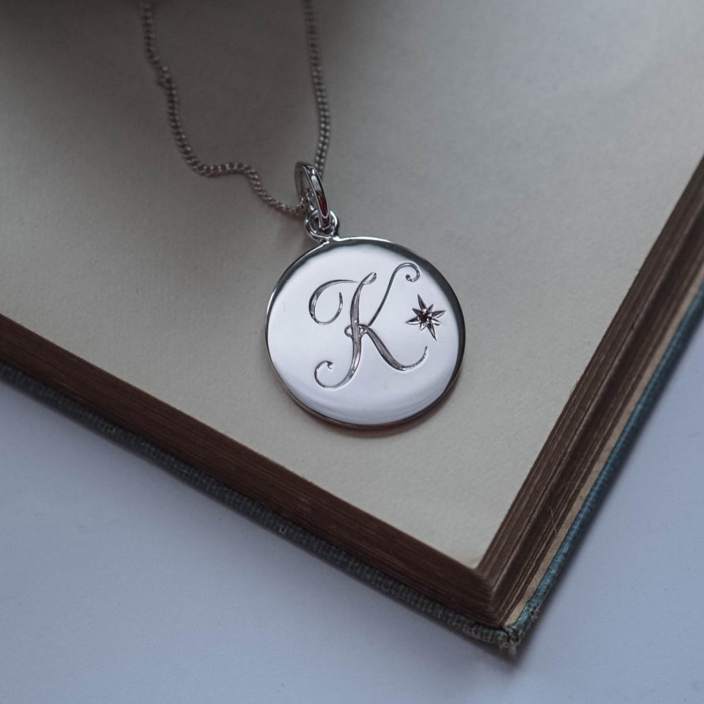 Garnet Initial Necklace