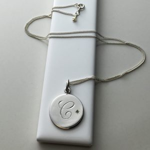 June Birthstone Initial Necklace in Sterling Silver
