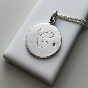 December Birthstone Initial Necklace in Sterling Silver
