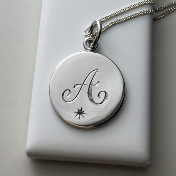 March Birthstone Initial Necklace in Sterling Silver